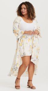 Yellow Grey Floral Kimono Torrid