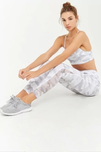 Active Camo Sheer Mesh Panel Leggings by Forever21