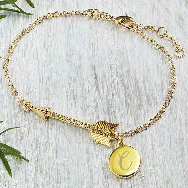 bridesmaid gifts under $50 personalized gold charm bracelet