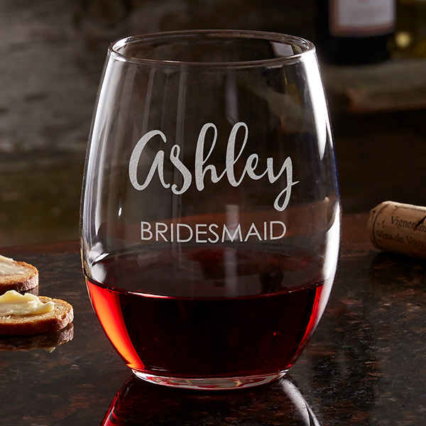 bridesmaid gifts under $50 personalized wine glass