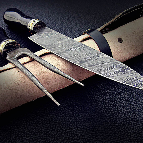 damascus chef knife fork set