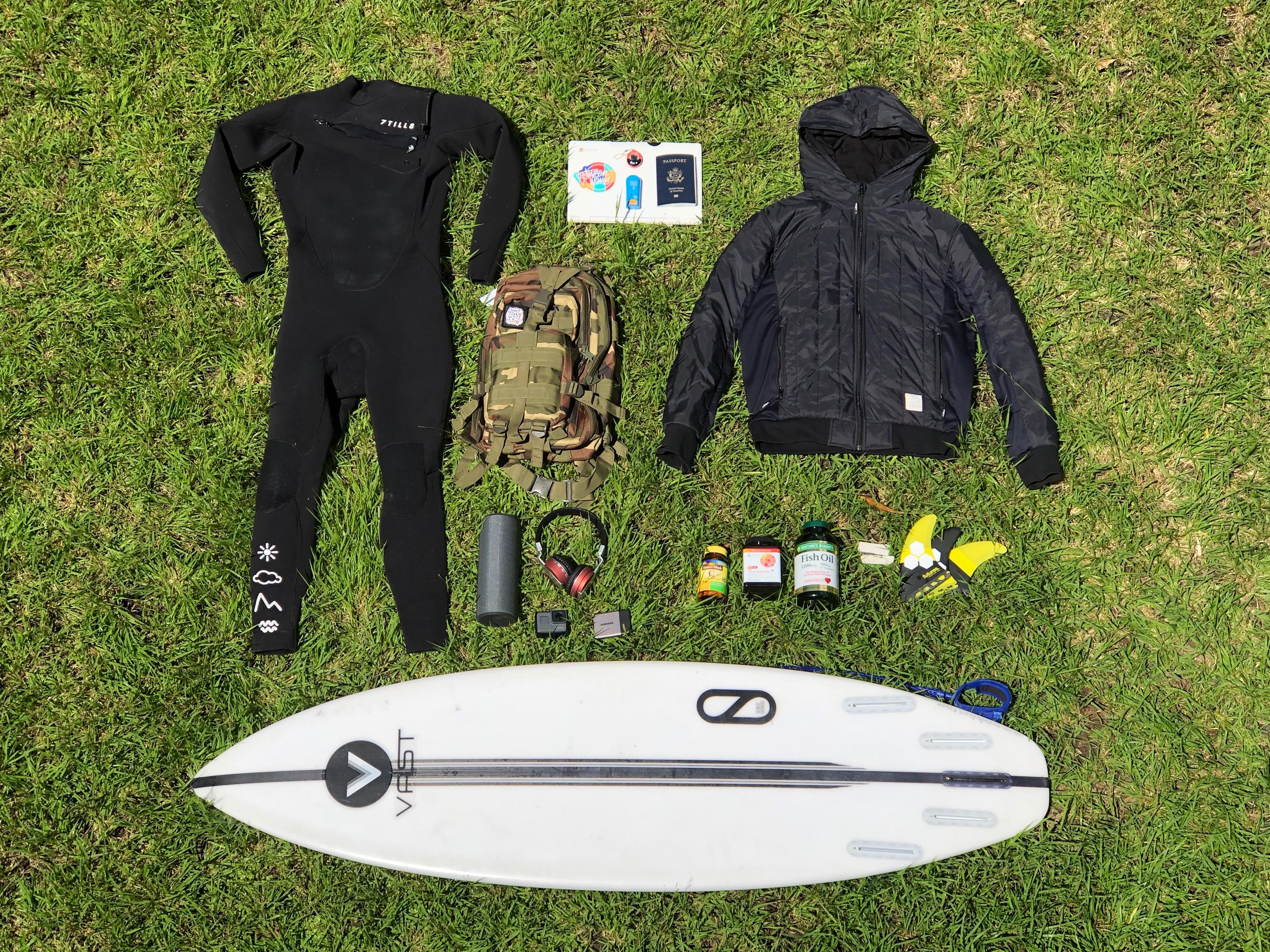 alex pendleton surfer flat lay