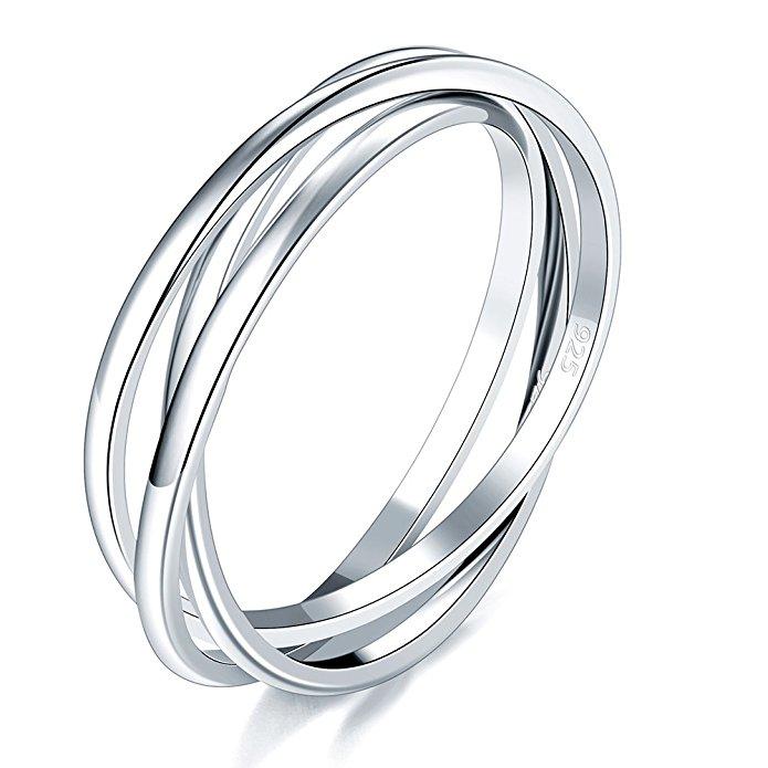 jewelry allergy alternatives nickel free rings stackable interlocked sterling silver