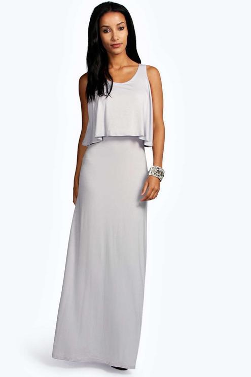 maxi dresses best under 35 summer boohoo double layer white cream