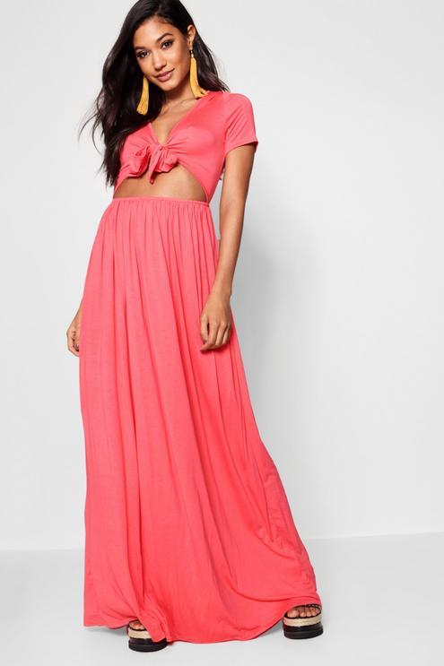 maxi dresses best under 35 summer boohoo front knot pink