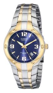 Gold Silver Watch Blue Face Casio
