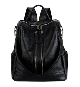 Black Leather Backpack Women's