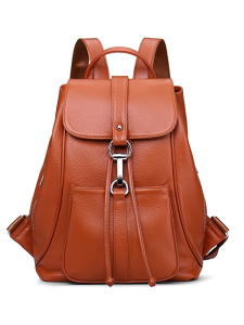 Brown Leather Backpack Snap