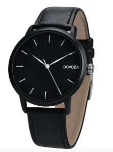 Black Leather Watch Men's