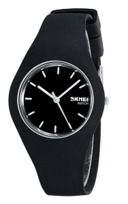 Black Rubber Watch Men's