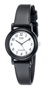 Black Leather Watch Casio Women's