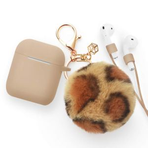 Khaki case with Leopard Print Pompom