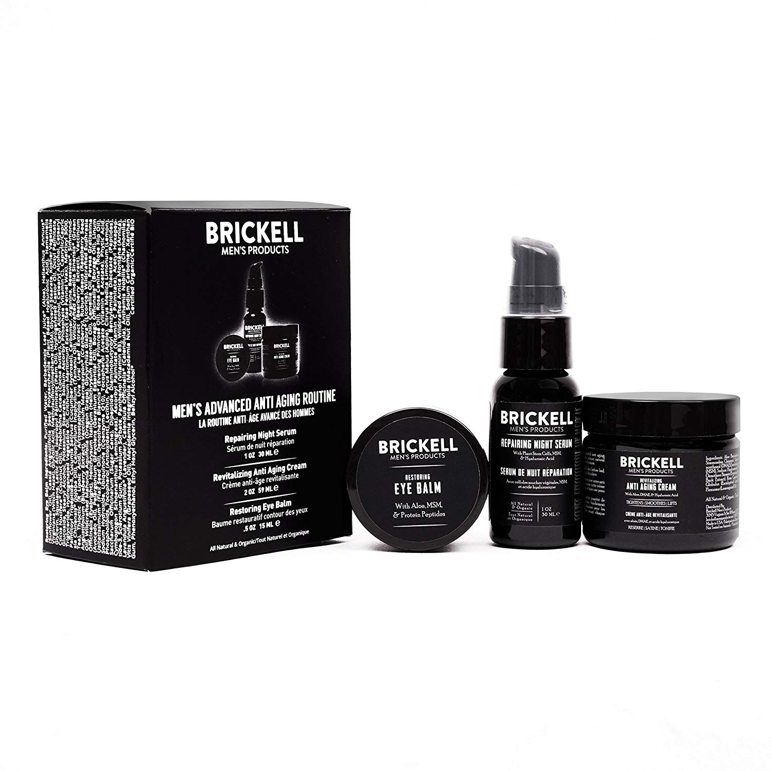 Brickell for Men anti-aging kit with eye balm, anti-aging serum and anti-aging cream