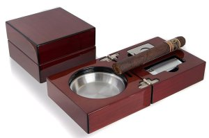 Mantello Folding Cherry Wood Cigar Ashtray Set