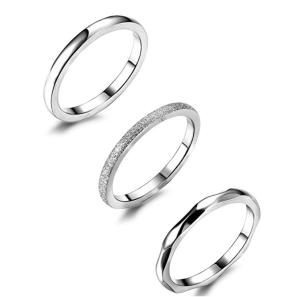 Silver Band Rings Set