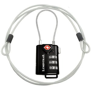 TSA Approved Cable Luggage Locks plus 4 Ft Cable Lumintrail Combination Travel