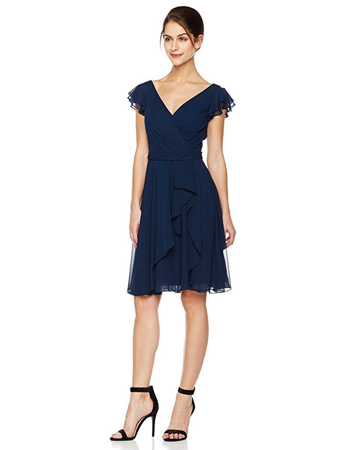 wedding guest dress under $100 cambridge collection draped v-neck cap sleeves short petal