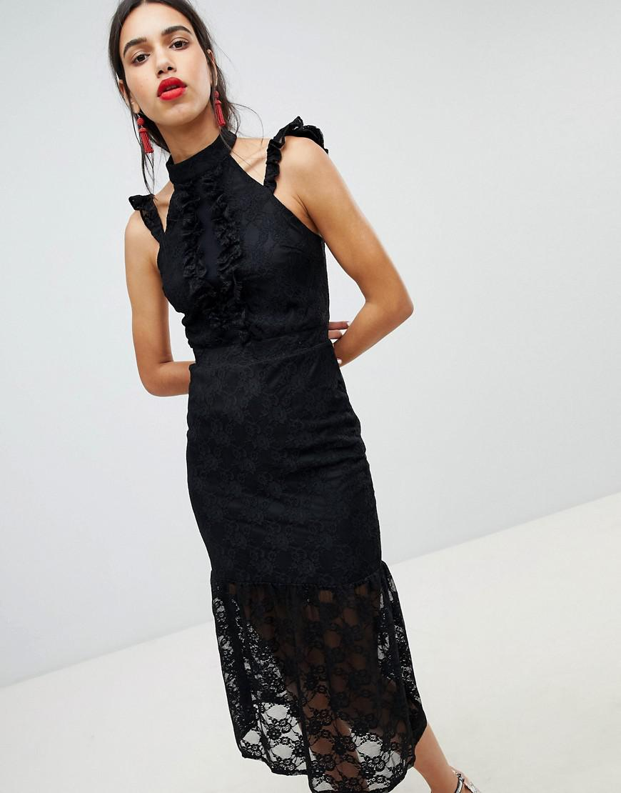 lost ink black lace midi