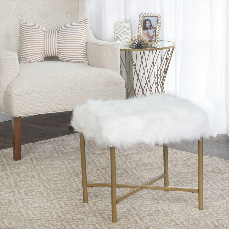 homepop faux fur stool