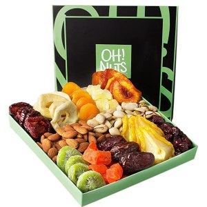 Oh! Nuts Holiday Nut and Dried Fruit Gift Basket, get well soon gifts