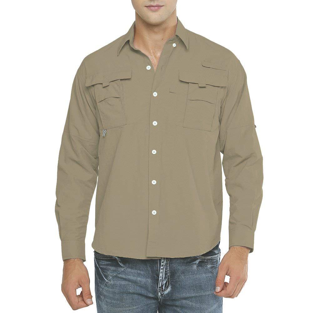 best travel shirts men women quick drying Jessie Kidden Men's Quick Dry Sun UV Protection Long Sleeve Fishing