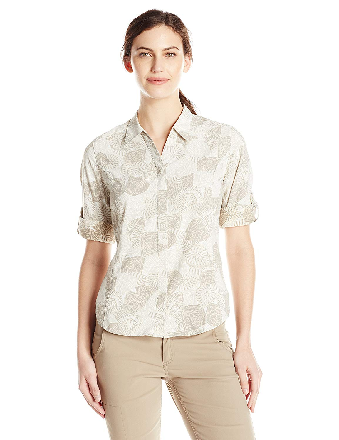 best travel shirts men women quick drying Royal Robbins Women's Expedition Stretch 3/4 Sleeve Print Top
