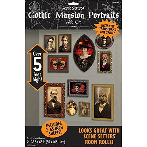best cheap Halloween decorations - Gothic Mansion Portraits Scene Setters