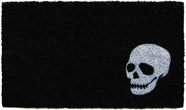 black skull doormat , spooky Halloween decoration