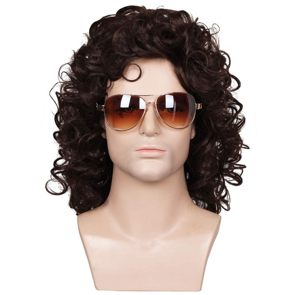 Fantalook Short Curly Brown Halloween Cosplay Wig for Men