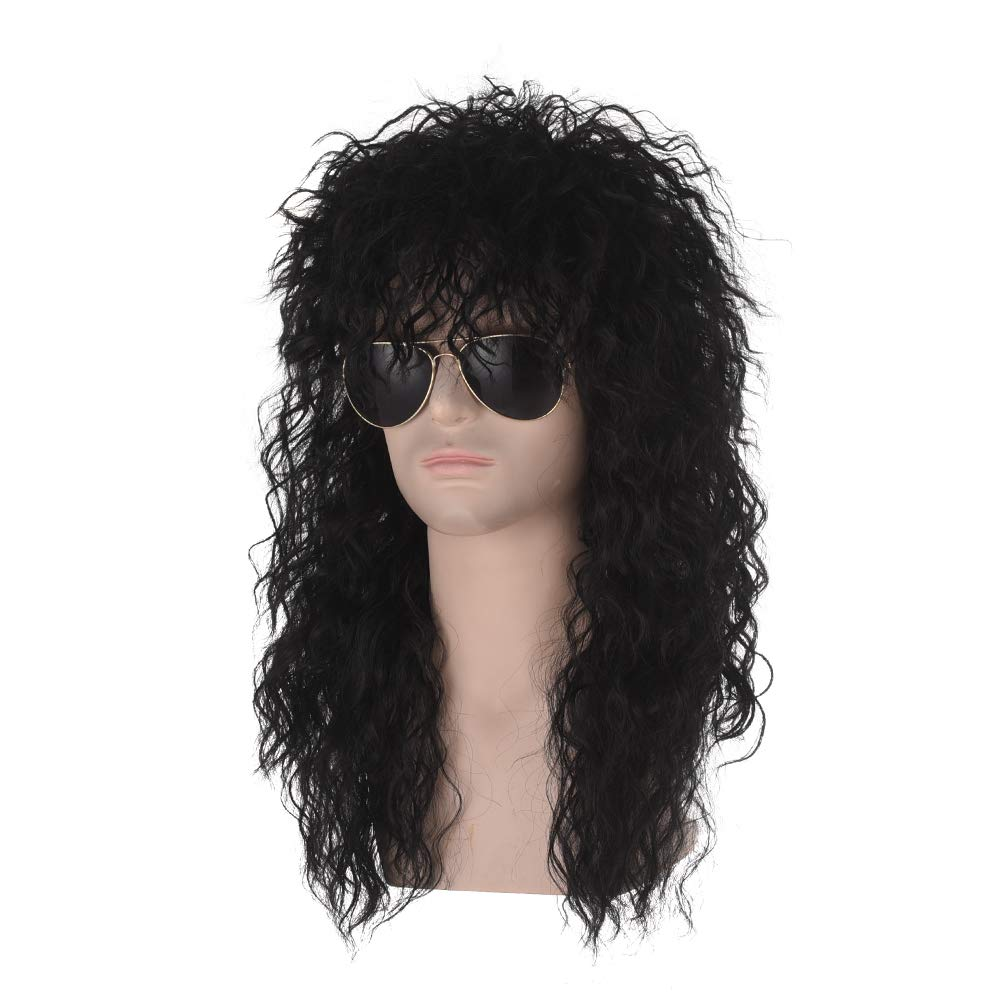 Long Curly Punk Heavy Metal Mullet Wig