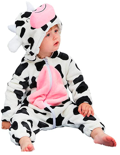 Aablexema Unisex Infant Cow Costume, best baby halloween costumes