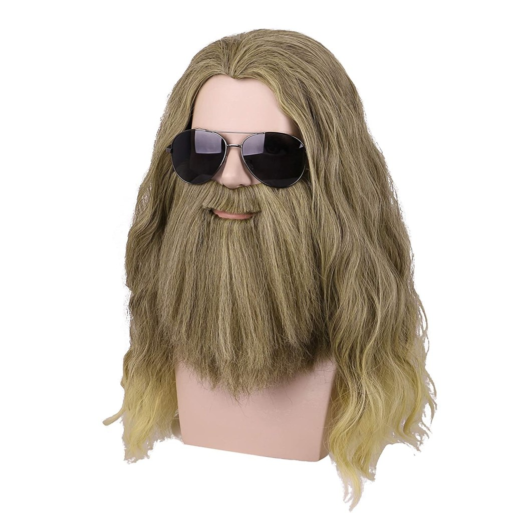 Yilys Men Long Curly Golden Brown Hair and Beard Halloween Cosplay Wig