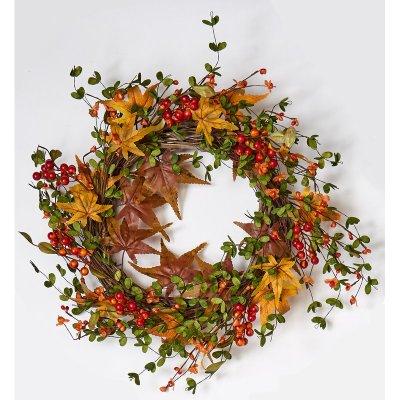 August Grove Fall Berry and Maple Leaf Wreath WayFair