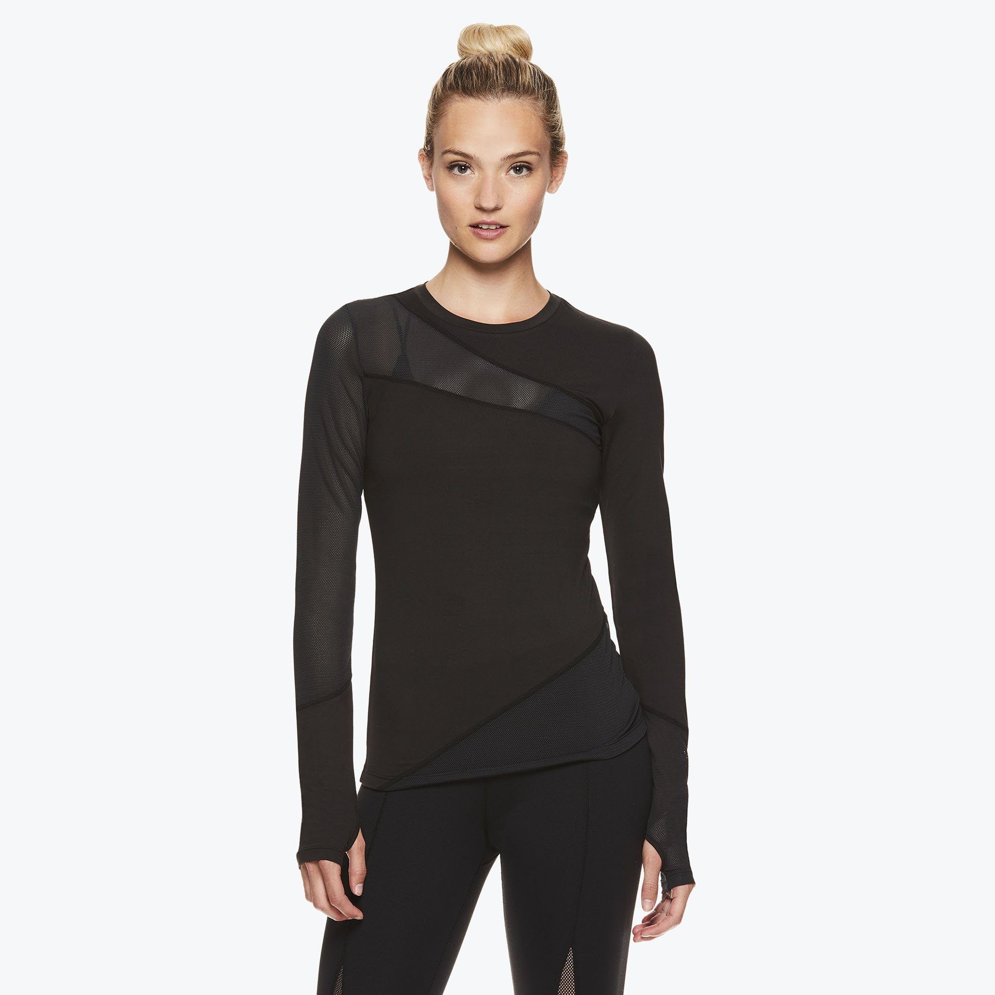 gaiam jessica biel capsule collection athleisure madison long sleeve mesh piecing top