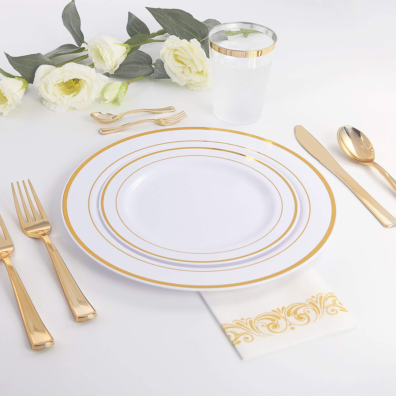 Friendsgiving Essentials - Gold Plastic Silverware and Disposable Plastic Plates