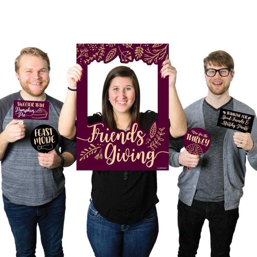 Friendsgiving Thanksgiving Party Photo Booth Picture Frame and Props - Printed on Sturdy Material