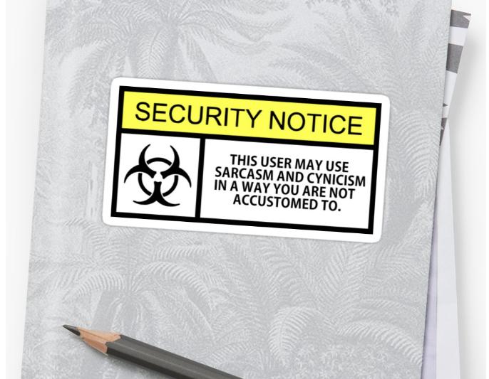 sarcasm security sticker