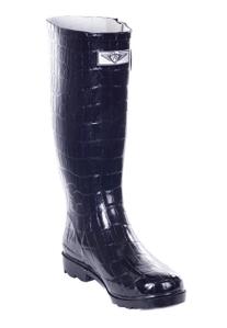 Black Croc Rain Boots