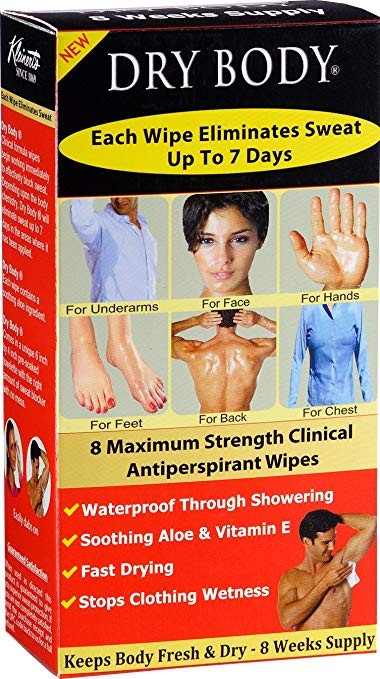 sweaty hands feet hyperhidrosis over-the-counter treatments Kleinerts Dry Body Antiperspirant Wipes