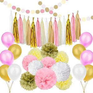 Simpzia Gold & Pink Party Decorations