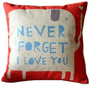 Never Forget I Love You Elephant Cotton Linen Throw Pillow Case