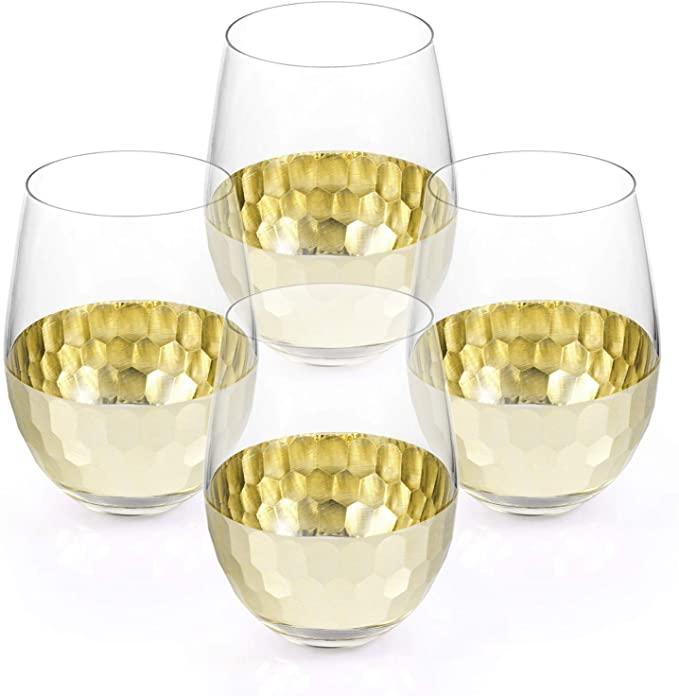 thanksgiving decor gold wine glasses