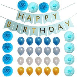 3 Pcs Blue Birthday Party Decoration Set