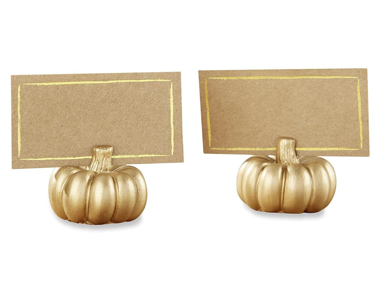 Thanksgiving decor pumpkin place card holder