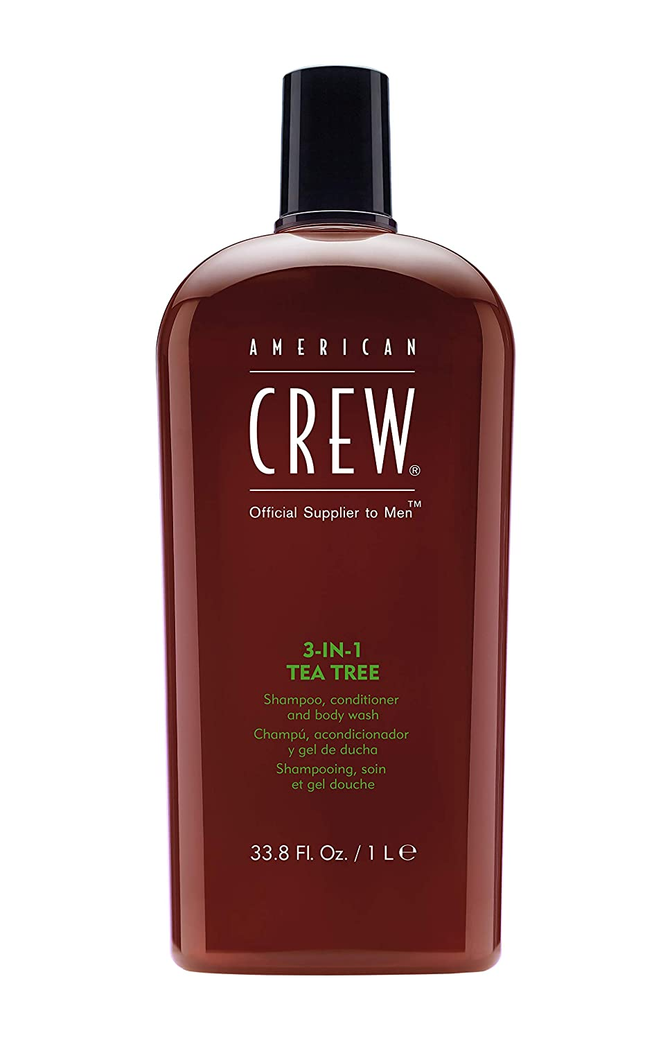 american crew 3 in 1 tea tree shampoo, conditioner, body wash, 33.8 fluid ounces; best shampoos for men