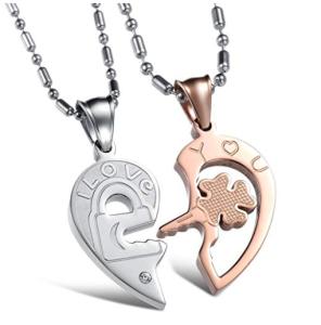 Matching Heart Shape Lock&Key Love Necklace