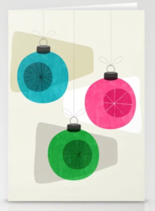 Retro Holiday Baubles Stationery Cards