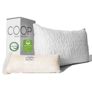 coop home goods adjustable pillow with its box and extra memory foam on a white background