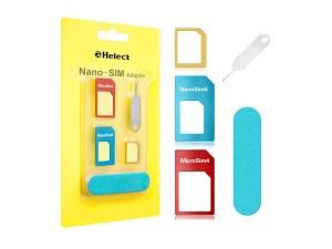 Helect 5-in-1 Nano & Micro SIM Card Adapter Kit