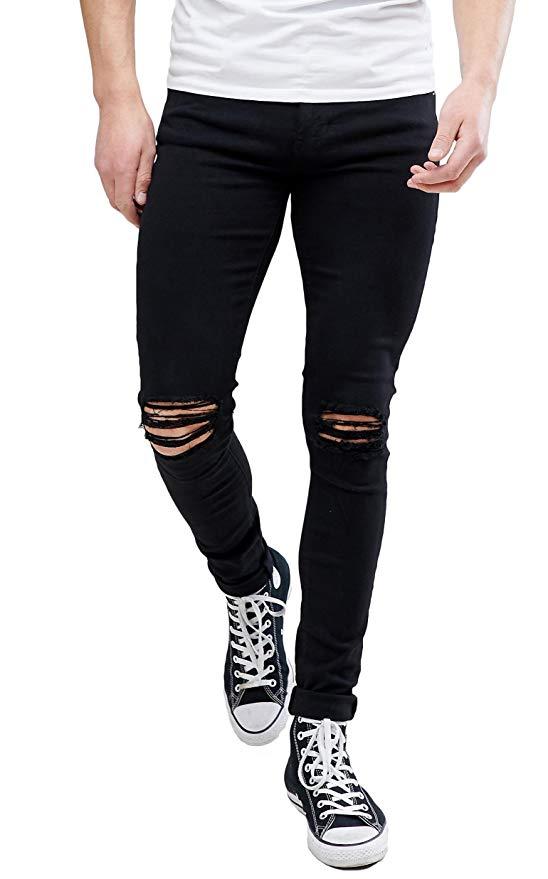 best ripped jeans amazon under 30 meikesen men's destroyed knee stretchy slim tapered denim